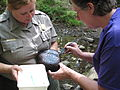Emily Guss and Vicki Pentecost checking a river rock (4977008897).jpg
