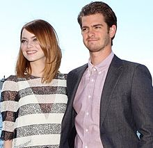 Stone with Andrew Garfield at The Amazing Spider-Man 2 premiere in Sydney, 2014