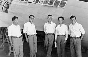 Jiro Horikoshi - Horikoshi (center) and members of the A6M1 design team, Mitsubishi Heavy Industries (July, 1937)