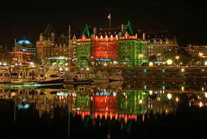 The Empress (hotel) - The Empress at night, from the Inner Harbour
