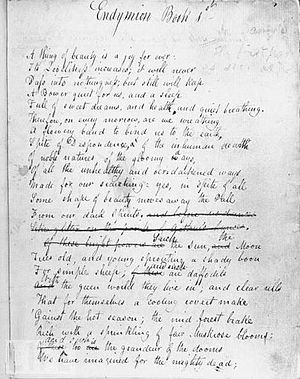 Endymion (poem) - Draft of Endymion by John Keats, c 1818.
