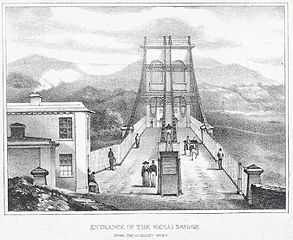 Entrance of the Menai bridge: from the Anglesey shore