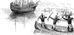 Thomas Dermer - Artist's depiction of the attack on Capt. Nicholas Hobson's ship by Wampanoag warriors in 1614 on Martha's Vineyard, allowing Hobson's captive Epenow to escape.
