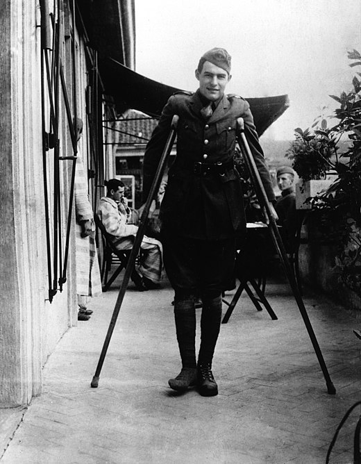 Ernest Hemingway recuperates from wounds in Milan, 1918.jpg