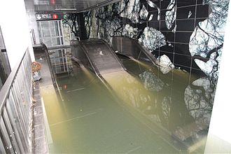 IRT Broadway–Seventh Avenue Line - After Hurricane Sandy, the new South Ferry station was flooded and damaged, requiring the old station to reopen.