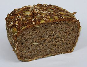 Sprouted bread - Image: Essene Bread 70pct Rye Sproud 30pct Spelt cut