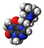 Ball-and-stick model of the etamiphylline molecule