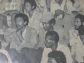 Meles Zenawi - Meles Zenawi (far right, middle) sitting next to Bereket Simon in a 1970s political meeting