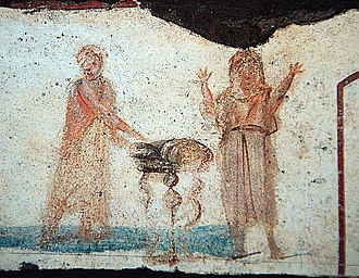 Transubstantiation - A 3rd-century fresco in the Catacomb of Callixtus, interpreted by the archaeologist Joseph Wilpert as showing on the left Jesus multiplying bread and fish, a symbol of the Eucharistic consecration, and on the right a representation of the deceased, who through participation in the Eucharist has obtained eternal happiness