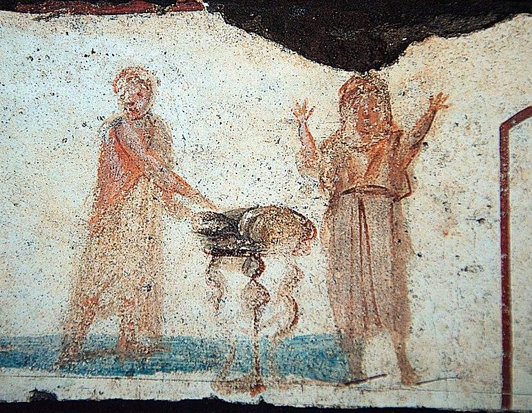 Orante figure on right, Catacomb of Callixtus, 3rd Century