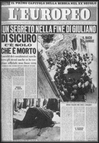 """Salvatore Giuliano - Cover of """"L'Europeo"""" of July 1950 about the mysterious death of Giuliano"""