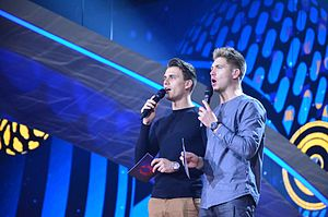 Eurovision Song Contest 2017 - Hosts Volodymyr Ostapchuk and Oleksandr Skichko (from rehearsal)