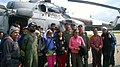 Evacuated persons flown from Lukla by an Indian Air Force (IAF) helicopter following a recent massive earthquake in Nepal with IAF crew at Kathmandu airport.jpg