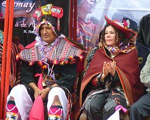 Pukllay - Bolivian President Evo Morales and Culture Minister Elizabeth Salguero attend the Pukllay festival which their administration has nominated for UNESCO recognition