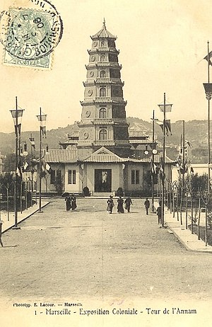 Annam (French protectorate) - Postcard of the Annam Tower, built in Marseilles for the 1906 Colonial Exhibition.