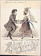Första dansen. Bondbröllop vid Hjula i Södermanland. Fritz von Dardel, 1837 - Nordiska Museet - NMA.0037691