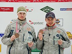 FIL European Luge Natural Track Championships 2010 - Men's Double Prize Giving Ceremony 3rd place.jpg