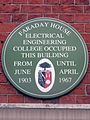 Faraday House Electrical Engineering College green plaque.jpg