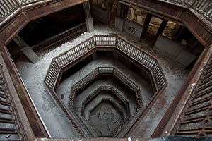 Farwell Building - Building interior, looking down at the light court