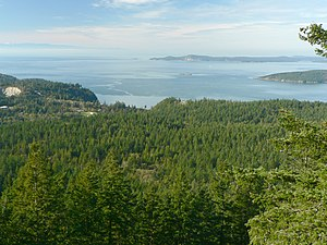 Fidalgo Island - The forested western slopes of Fidalgo Island overlook the Strait of Juan de Fuca.