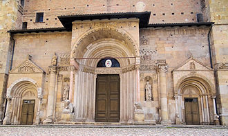 Fidenza - The lower part of the façade of the Fidenza Cathedral