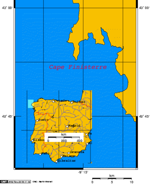 Position of Cape Finisterre on the Iberian Peninsula