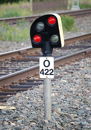 Finnish railway signalling - A dwarf signal showing the Stop aspect