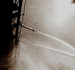 Fireboat Firefighter 's water monitors during September, 2014 Greenport Water Display.jpg