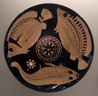 Greek cuisine - Fresh fish, one of the favourite dishes of the Greeks; platter with red figures, c. 350–325 BC, Louvre