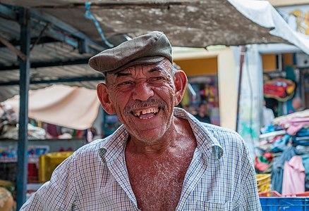 Fishmonger smiling