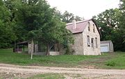 Flagstone building at Longrun, Missouri.jpg