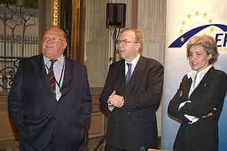 Jean-Luc Dehaene - Jean-Luc Dehaene (left) with Wilfried Martens (center) at a European People's Party (EPP) meeting, 2005