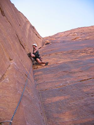 Wadi Rum - Climber on Jabal Ram