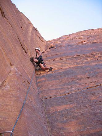 Wadi Rum - Climber on Jabal Ram