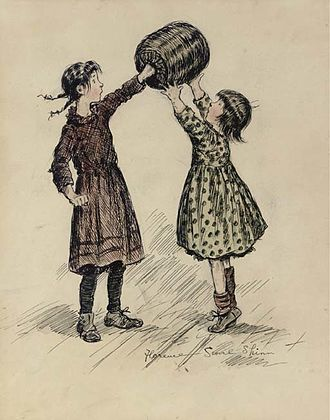 """Mrs. Wiggs of the Cabbage Patch - """"Lemme hold the muff"""" cried Australia. """"No, me-me!"""" shrieked Europena. Original illustration for the first illustrated edition of Alice Caldwell Hegan's Mrs. Wiggs of the Cabbage Patch"""