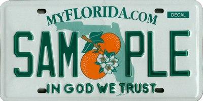 Florida license plate In God We Trust