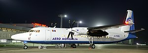 Aero Mongolia - Fokker 50 at midnight