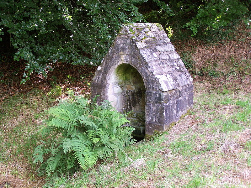 Fountain erected in 1772 at Kernec, Languidic, Morbihan, France. This fountain of devotion is supposed, according to local tradition, to cure mouth's diseases