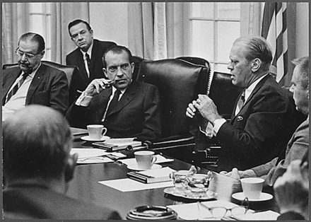 Ford meets with President Richard Nixon as House Minority Leader. Ford in meeting with Nixon.png