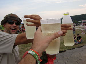 Spritzer - People drinking spritzers at a festival in Hungary