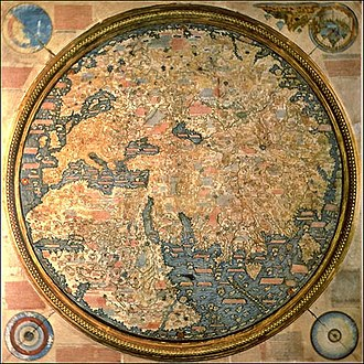 Fra Mauro - The 1450 ca. Fra Mauro map (inverted, South is normally at the top). The map is a world map that depicts Asia, Africa and Europe.