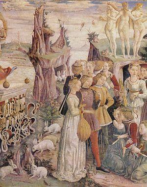 Francesco del Cossa - Detail showing The Three Graces.
