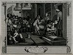 Francis Goodchild, taking tea with his new wife, pays a drum Wellcome V0049201.jpg