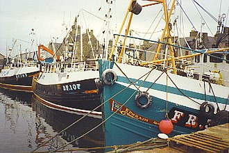 Fishing industry in Scotland - Scottish fishing boats moored in Fraserburgh.