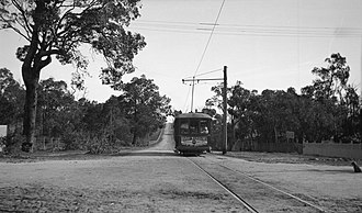 Trams in Fremantle - Route M tram on High Street bound for Carrington Street, c 1923