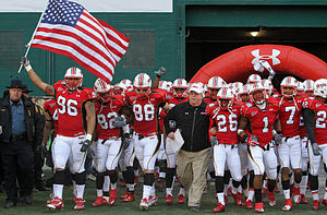 Maryland Terrapins - Ralph Friedgen and the Maryland football team take the field prior to the 2010 Military Bowl.