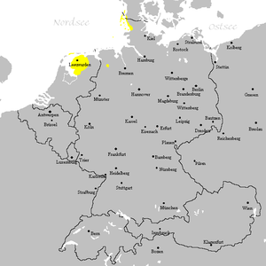 21st century distribution of Frisian (without the islands of Pellworm, Nordstrand (extinct) and Rømø (Danish language))