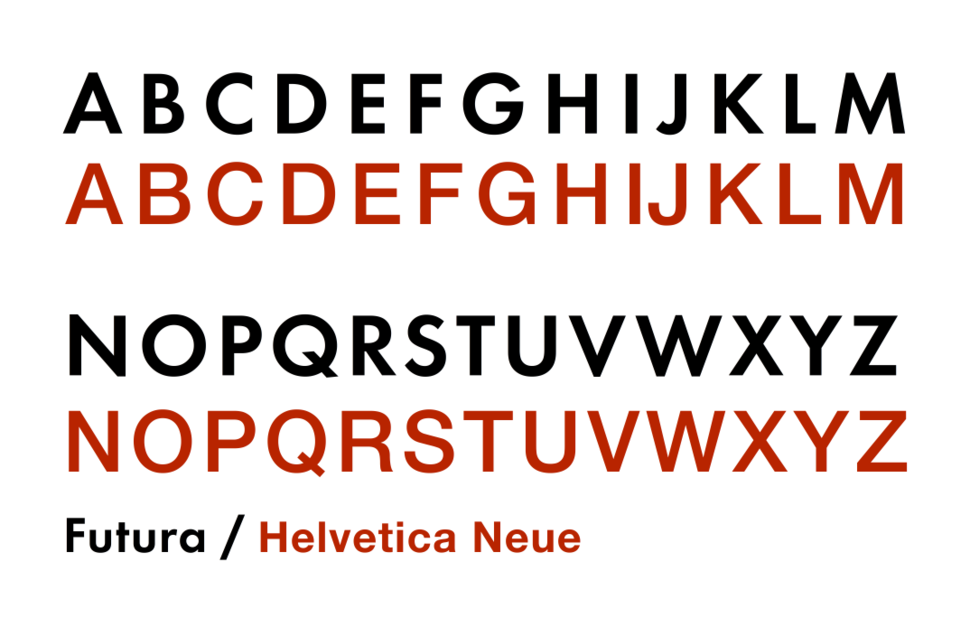 Futura Helvetica capitals comparison