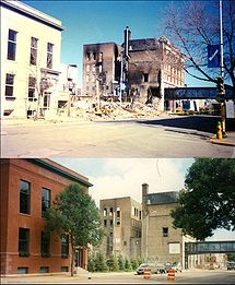 Two images of the same area. The top image shows several buildings, one with fire damage. A large pile of rubble is located between them. A tree at the right has no leaves on it. The bottom image shows the same buildings now painted and somewhat restored. The pile of rubble has been replaced with multiple small trees. The tree at the right is full of green leaves.