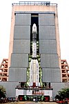 GSLV-F08 on the Mobile Launch Pedestal emerging from Vehicle Assembly Building.jpg